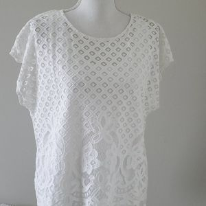 Ruby Rd White Lace Top L